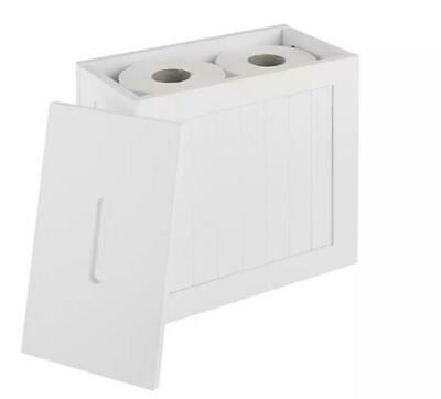 Wooden White Toilet Storage Box Cleaning Products Tidy Bathroom Unit  • 18.99£