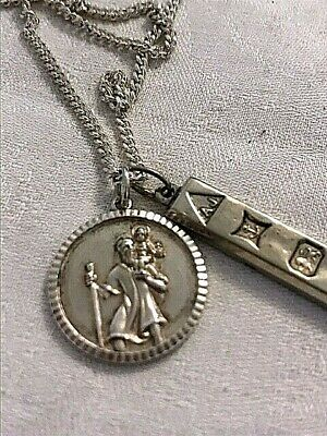 Pendants & Chain Sterling Silver 925 Ingot & St Christopher 1970s (1818J) • 79£