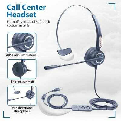 3.5/ USB Headphones With Microphone Noise Cancelling Headset For Skype PC Laptop • 16.19£