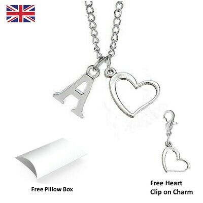£2 • Buy Personalised Initial Heart Letter Alphabet Silver Plated A-Z  Necklace