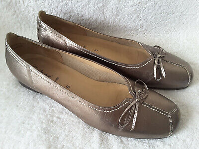 Gabor Pewter Leather Bow Front Low Court Shoes Size 8 WORN ONCE • 25£