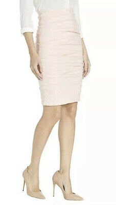 $78 • Buy $275 NICOLE MILLER ARTELIER Sz 8 RUCHED FITTED PENCIL STRETCH SKIRT CORAL