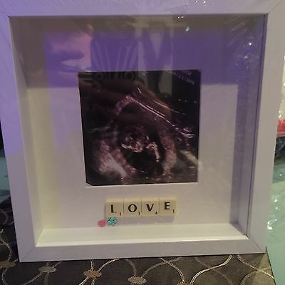 WHITE Baby FRAME SCAN  LOVE  PHOTO SCRABBLE TILE PICTURE STUNNING • 16£