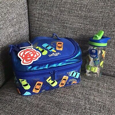 $ CDN52.90 • Buy Boys Smiggle Blue Cars Whirl Junior Double Decker Lunch Bag Drinks Bottle Set