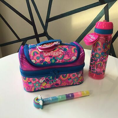 $ CDN52.90 • Buy Girls Smiggle Flow Pink Double Decker Sandwich Lunch Bag Box & Water Bottle Gift