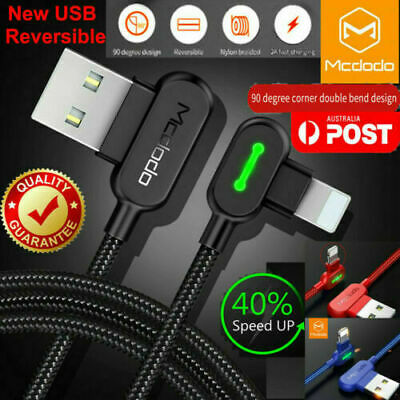 AU8.69 • Buy MCDODO 90 Degree Right Angle USB Fast Charger Cable Cord For IPhone IPod IPad