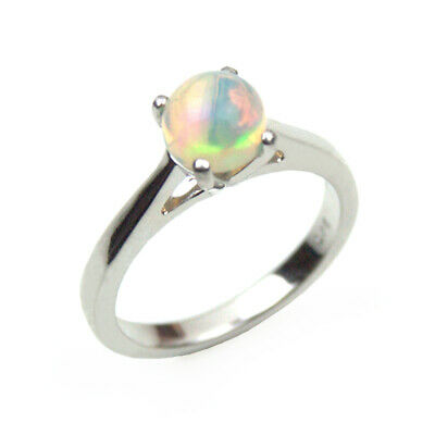 £45 • Buy Silver Ring Natural Ethiopian Opal Cabochon Set In Sterling Silver