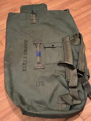 $6 • Buy Military Sea Bag / Duffle Bag, Marked. Top Loading With Straps, Green