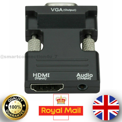 1080P HDMI To VGA Converter Adapter Connector Cable With Audio Output Quality UK • 3.99£