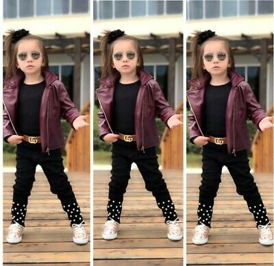 Autumn Winter Kids Baby Girls Leather Jacket TROUSER BELT  Outwear • 29£