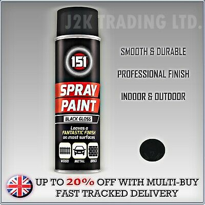 BLACK GLOSS Spray Paint Aerosol Can Cars Wood Metal Walls Crafts Graffiti 250ml • 5.89£