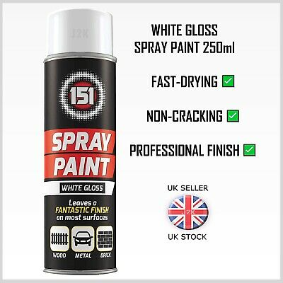 WHITE GLOSS Spray Paint Aerosol Can Cars Wood Metal Brick Walls Graffiti 250ml • 5.89£