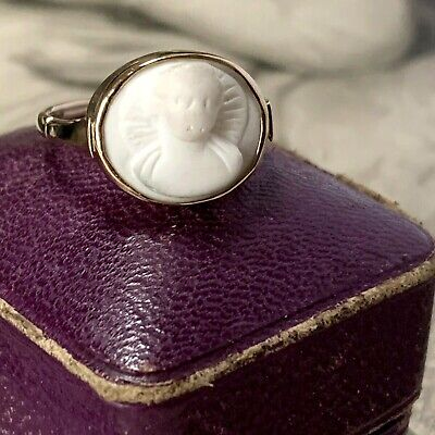 £395 • Buy Victorian Angel Cameo Ring, Antique 9ct Gold Gothic Revival Intaglio UK K 3/4