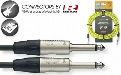 $ CDN22.66 • Buy Yellow 20' Neutrik Equipped Tweed Cloth Guitar Amp Cable Cord Stagg # NGC6VTR YL