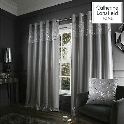 Catherine Lansfield Glitzy Grey Eyelet Curtains Ring Top Curtains Pair • 42.99£