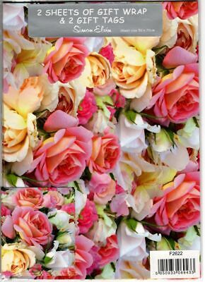 £2.95 • Buy Roses Gift Wrapping Paper Gift Wrap - 2 Sheet & Tags Mother's Day Birthday NEW