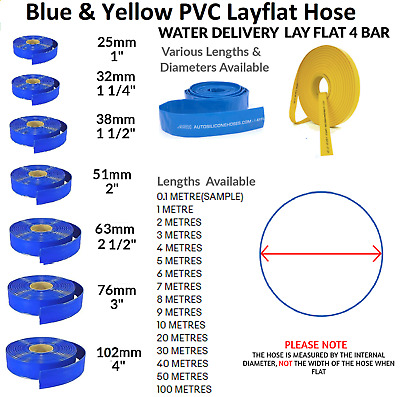 £49.62 • Buy Blue Pvc Layflat Hose-water Discharge Pump Irrigation  Lay Flat Delivery Pipe