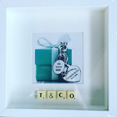 White Frame Tiffany Photo Scrabble Tile Picture Simply Stunning • 16£