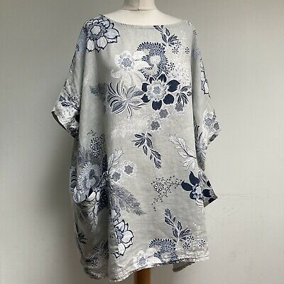 LV CLOTHING 100% Linen Tunic Top OSFA Blue Floral Pockets Lagenlook • 20£