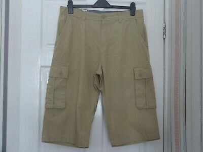 Atlantic Bay (BHS) Mens Cargo Shorts In Sand Coloured Cotton, Size 34. • 3.99£
