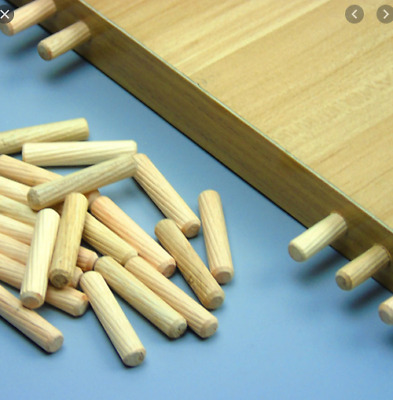 Dowels 8mm X 40mm Hardwood Wooden Chamfered Fluted Pin Wood Birch Suits Ikea • 0.99£