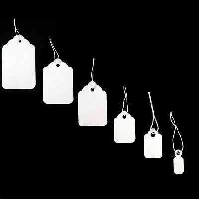 New White Strung Swing Tie Tickets Price Label Tags 10 Sizes • 3.99£