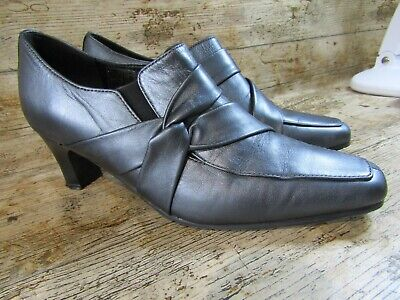 HOTTER Silver / Pewter Leather Broadway Shoes Size 5 UK Std  Comfort Concept • 12£