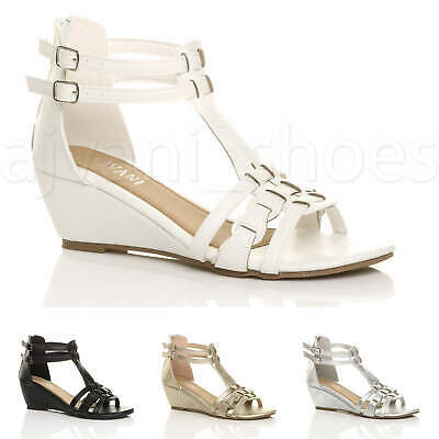 £13.99 • Buy Womens Ladies Low Mid Wedge Heel Buckle Gladiator Strappy T-bar Sandals Size