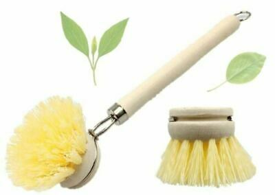 £6.49 • Buy 2 X Wooden Handle Cleaning Brush Pot Pan Dish Bowl Home Kitchen Washing Cleaner