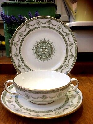 £20 • Buy Crown Staffordshire China Apollo Soup Coupe / 2 Handled Cup Saucer Plate Trio