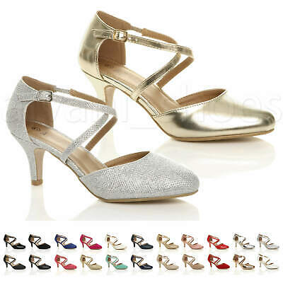 £19.99 • Buy Womens Ladies Mid High Heel Strappy Crossover Wedding Evening Sandals Shoes Size