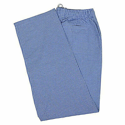 Chef Trousers Pant Gingham Check Kitchen BLUE & WHITE Uniform Elasticated Food • 10.99£