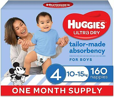 AU70.99 • Buy HUGGIES Ultra Dry Nappies Boys Size 4 (10-15kg) One Month Supply 160 Count