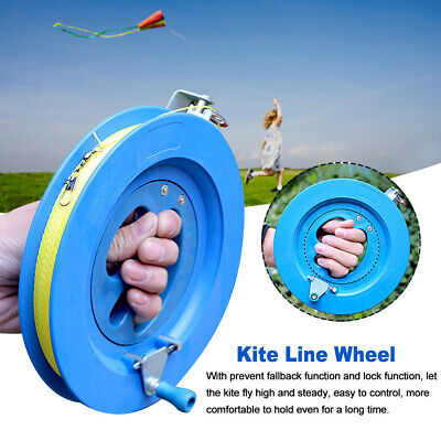ChezMax 10 Inches Diameter Beige Lockable Kite Line Reel Winder Smooth Rotation Ball Bearing Tool Hand Grip Wheel Winding Reel with 2297 Feet Durable Nylon String Outdoor Kite Accessories