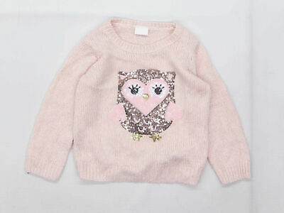 F&F Girls Graphic Pink Owl Jumper Age 2-3 Years • 4£