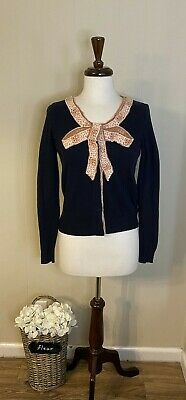 $ CDN23.97 • Buy Anthropologie Moth Navy Blue Cardigan Sweater With Flower Applique Size L