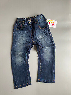£5.95 • Buy NEW Baby Boys Kids Ex M&S Dark Blue Distressed Adjustable Jeans Trousers 0-5 Yrs