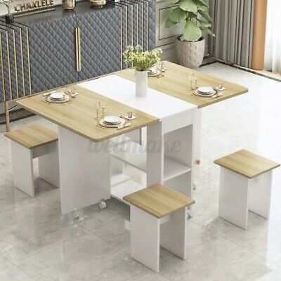 £129.99 • Buy Folding Dining Table And Chairs 4 Set Dining Kitchen Room Home Furniture Wood