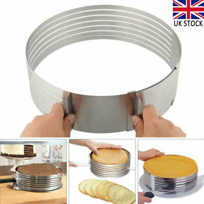 £6.95 • Buy Stainless Steel Round Cake Layer Slicer Mousse Slicing Cake Cutting Ring Mold
