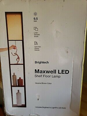 Brightech Maxwell Standing Tower Shelf Floor Lamp W/ Shelves & Havana Brown 63  • 26.59£