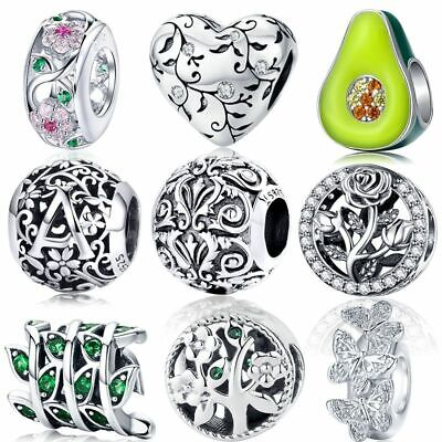 $21.96 • Buy 925 Sterling Silver Beads Charms Magnolia Orchid Cherry Cerise Rose Flower New