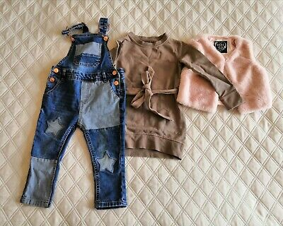 Toddler Girl Clothes Bundle For 2-3 Years Old, Dungarees, Dress, Faux Fur Vest • 3.85£