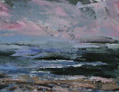 Original Signed Impressionist Abstract Rocks Waves Sea Oil Painting On Paper • 10£