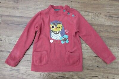 M&S Orange/Pink Fleece Patchwork Style Applique & Embroidered Owl Age 6-7 Years • 2.95£