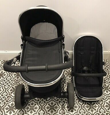 Icandy Peach 3 Black Magic Chrome Leather Pushchair Carrycot Travel System • 210£