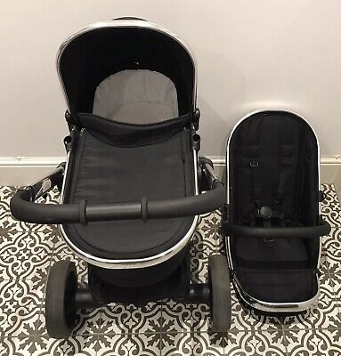 Icandy Peach 3 Black Magic Chrome Leather Pushchair Carrycot Travel System • 235£