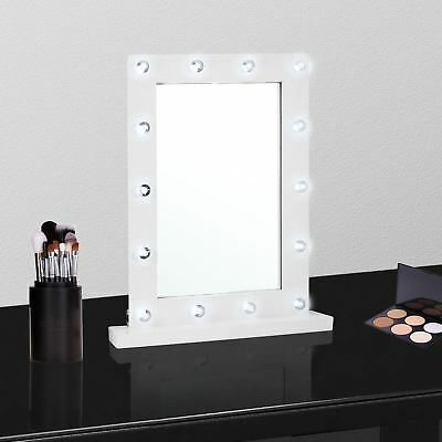 White Wooden LED Mirror Hollywood 14 Light Vanity Make Up Dressing Table Small  • 12.99£