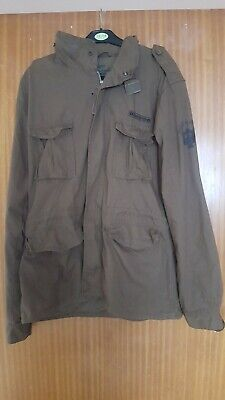 Mens Ringspun Brown Military Style Cotton Jacket/coat Size Xl  • 14£