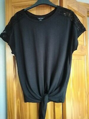 New Look Black Tie Front Top Size Medium V. G. Condition • 2£
