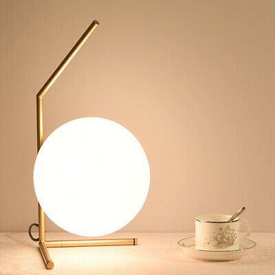 £36.99 • Buy Haley Brush Brass-Stemmed Table Lamp / Bedside Lamp With White Glass Globe